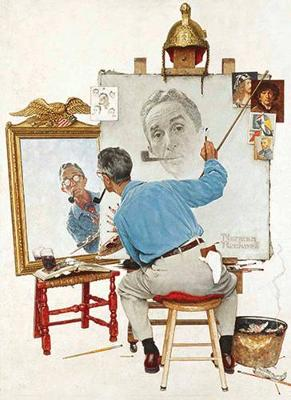 Picture of Norman Rockwell's Triple Self-Portrait from the Saturday Evening Post Notebook