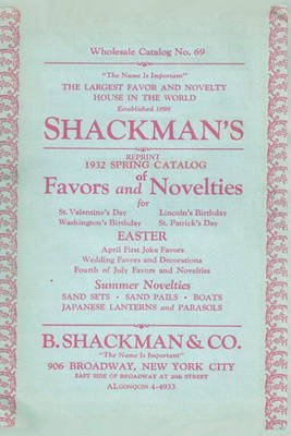 Picture of Shackman's Reprint 1932 Spring Catalog of Favors and Novelties