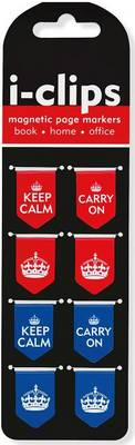 Picture of Keep Calm & Carry on I-Clips Magnetic Page Markers (Set of 8 Magnetic Bookmarks)