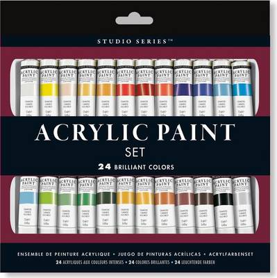 Picture of Studio Series Acrylic Paint Set (24 Colors): A Complete Palette of Acrylic Paints. Perfect for Artists, Students, and Crafters!