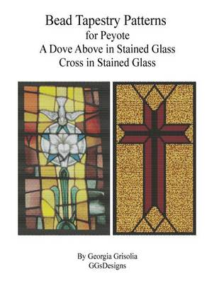 Picture of Bead Tapestry Patterns for Peyote a Dove Above in Stained Glass Cross in Staine