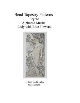 Picture of Bead Tapestry Patterns Peyote Alphonse Mucha Lady with Blue Flowers