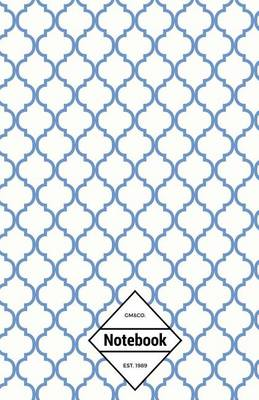 Picture of GM&Co  : Notebook Journal Dot-Grid, Lined, Graph, 120 Pages 5.5x8.5 (Clear Blue Moroccan Tiles Pattern)