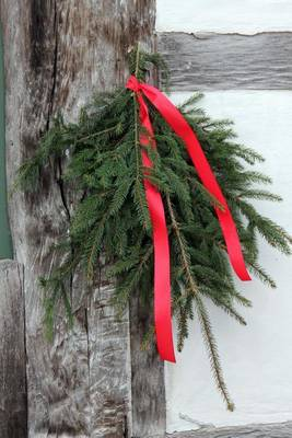 Picture of Holiday Greenery with a Red Ribbon Journal: 150 Page Lined Notebook/Diar