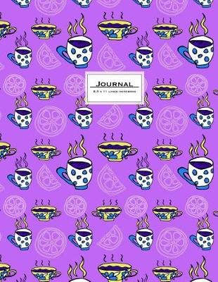 Picture of Journal - 8.5 X 11 Lined Notebook: Large, Ruled, 110 Pages. Purple Teacups