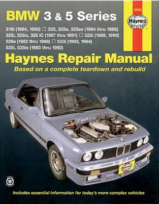 Picture of BMW 3 and 5 Series Automotive Repair Manual: 318i (84, 85), 325, 325e, 325es (84-88), 325i, 325is, 325iC (87-91), 525i (89, 90), 528e (82-88), 533i (83, 84), 535i, 535is (85-92)
