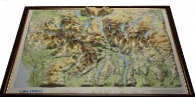 Picture of Lake District Raised Relief Map: Dark Wood  Framed